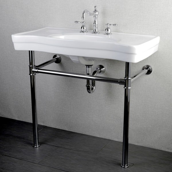 Bathroom Sink With Stand : Imperial Vintage 36-inch Wall-mount Chrome Pedestal Bathroom Sink ...
