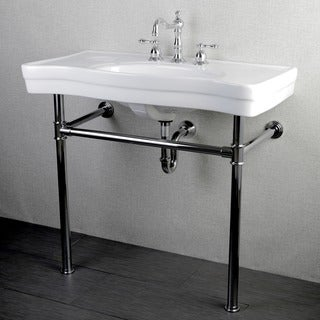 Imperial Vintage Chrome Pedestal Vitreous China Sink 36-inch Wall-mount Bathroom Vanity