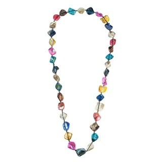 Handmade Mix Color Mother of Pearl Link Cotton Rope Necklace (Thailand)