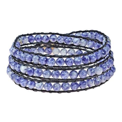 Handmae Multi Gemstone Treasure Triple Wrap Leather Bracelet (Thailand)