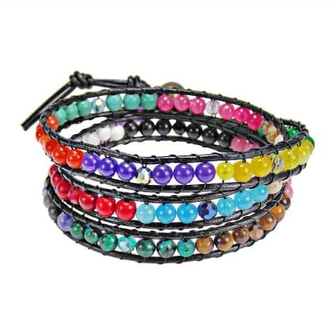 Handmade Treasure Triple Wrap Leather Bracelet (Thailand)