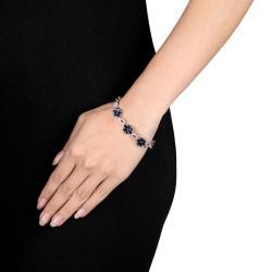 Miadora Signature Collection 14k White Gold Sapphire and 1 1/4ct TDW Diamond Bracelet (H-I, SI1)