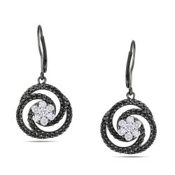 Miadora Signature Collection 14k White Gold 2ct TDW Black and White Diamond Earrings
