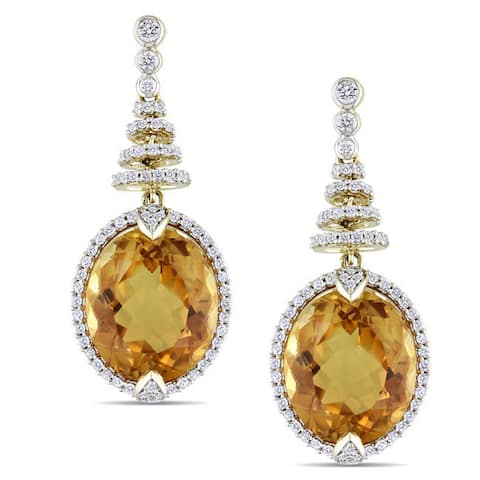 Miadora Signature Collection 14k Yellow Gold Citrine and 3/4ct TDW Diamond Earrings (H-I, SI1-SI2)