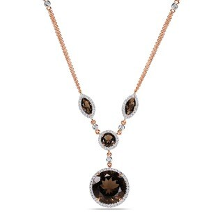 Miadora Signature Collection 14k Pink Gold Smokey Quartz and 3/5ct TDW Diamond Necklace (H-I, I1)
