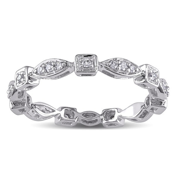 Miadora 10k White Gold 1/5ct TDW Diamond Geometric Eternity Ring (G-H, I1-I2)
