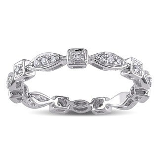 Miadora 10k White Gold 1/5ct TDW Diamond Geometric Eternity Ring