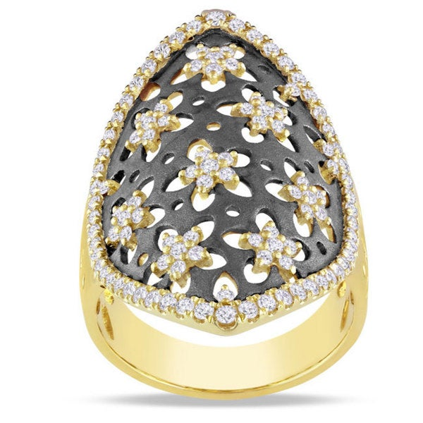Miadora Signature Collection 14k Yellow Gold 7/8ct TDW Diamond Fashion Ring