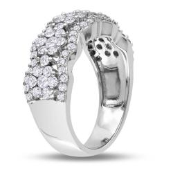 Miadora 14k White Gold 1 1/5ct TDW Diamond Flower Ring - Thumbnail 1