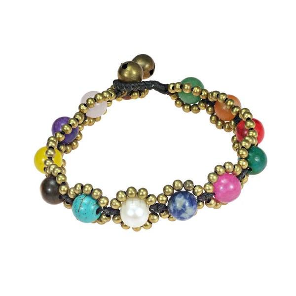 Handmade Round Multistone Fusion Brass Beads Embellished Bracelet (Thailand) - Pink
