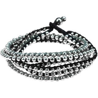 Handmade Trendy Round Silver Beads Triple Layer Bracelet (Thailand)