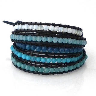 Handmade Amazonite/ Quartz/ Amethyst/ Carnelian Multi Tonal Faceted Stones 5-Wrap Bracelet (Thailand)