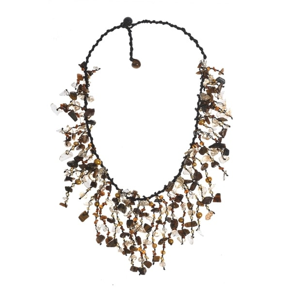 1ca7bfb410275d Handmade Tiger's Eye- Feshwated Dyed Gold Waterfall Cluster Necklace  (Thailand