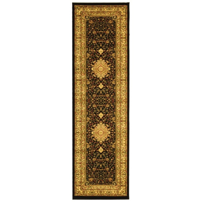 Lyndhurst Collection Mashad Black/ Ivory Rug (23 X 18)