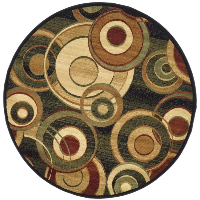 Safavieh Lyndhurst Collection Circ Black/ Green Rug (7' Round)