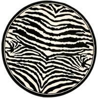 Safavieh Lyndhurst Contemporary Zebra Black/ Ivory Rug - 7' x 7' Round