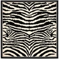 Safavieh Lyndhurst Contemporary Zebra Black/ Ivory Rug - 7' x 7' Square