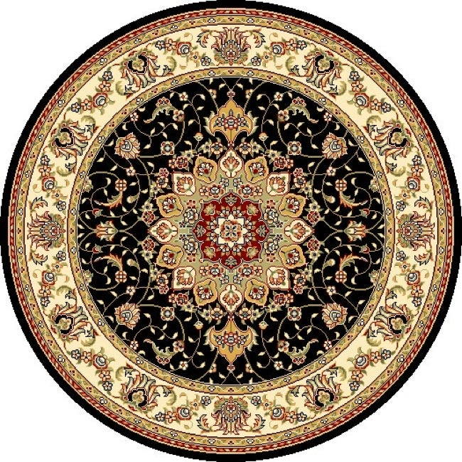 Lyndhurst Collection Traditional Black/ Ivory Rug (7 Round)