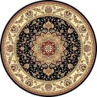 Safavieh Lyndhurst Traditional Oriental Black/ Ivory Rug - 7' x 7' Round
