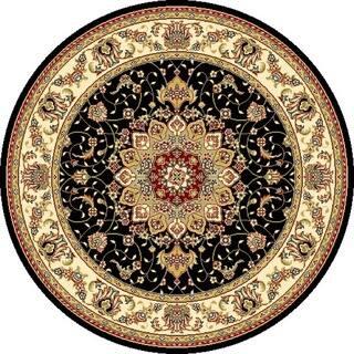 Safavieh Lyndhurst Traditional Oriental Black Ivory Rug 7 X Round