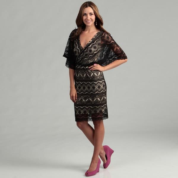 Marina Womens Black Nude Lace Dress - Free Shipping Today - Overstockcom - 14149546-3163