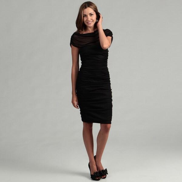 Marina Women's Black Off-the-shoulder Dress