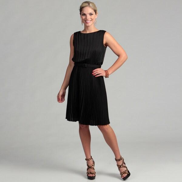 Marina Women's Black Sunburst Pleated Belted Dress FINAL SALE