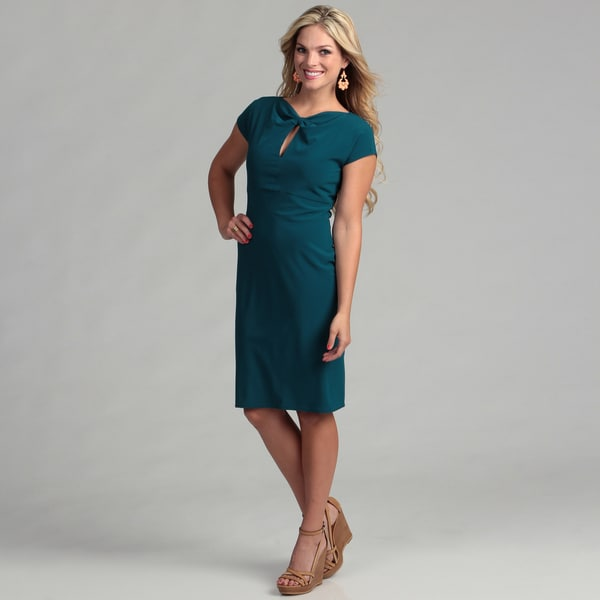 Marina Women's Teal Twist Neck Dress