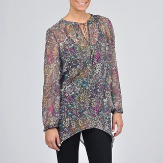 AnnaLee + Hope Women's Sheer Floral-print Top