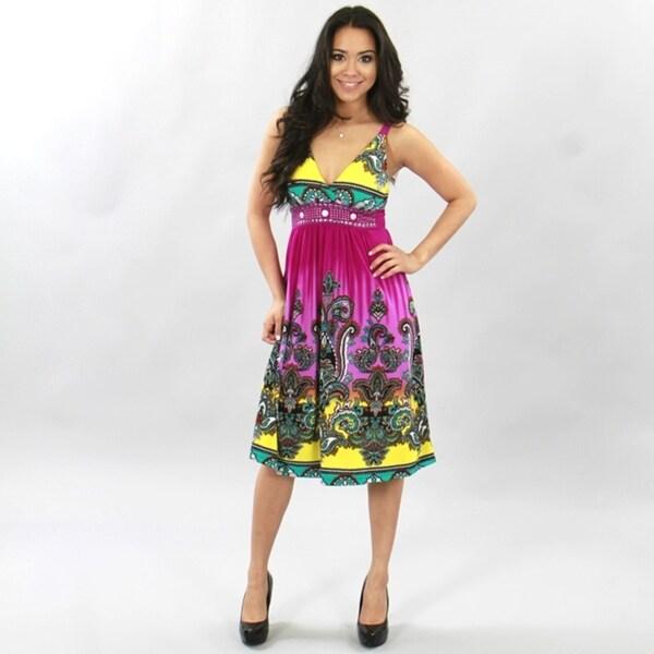 Meetu Magic Women's Purple / Yellow Paisley Border Print Embellished Dress