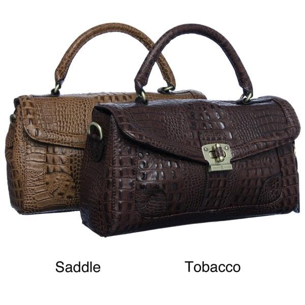 Etienne Aigner 'Geneva' Croco Flap Satchel Handbag