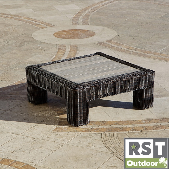 Rst resort collection espresso rattan 36 inch square for 36 inch square coffee table
