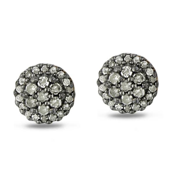 Haylee Jewels Sterling Silver 1/2ct TDW Grey Diamond Stud Earrings