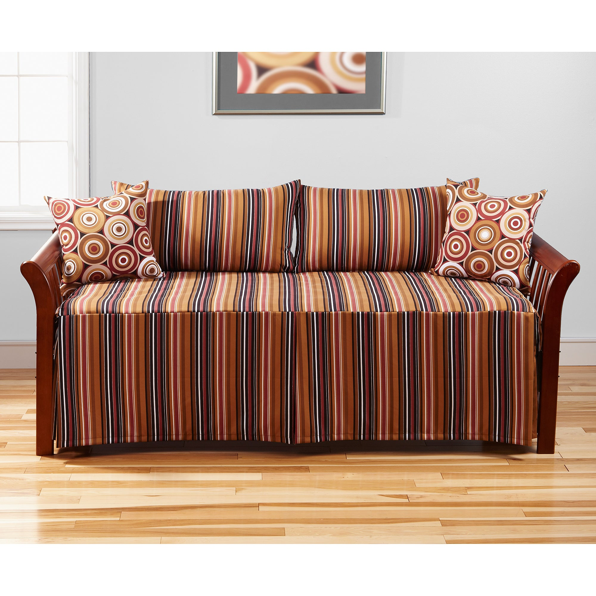 Rockin Stripe 5-piece Contemporary Colorful Polyester Daybed Set