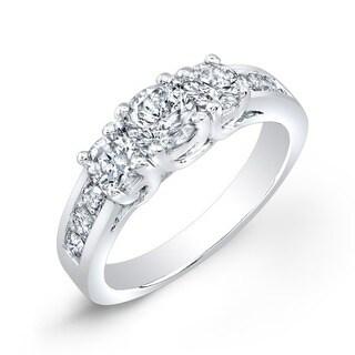 Auriya 14k Gold 1 1/2ct TDW Round 3-Stone Diamond Engagement Ring (More options available)