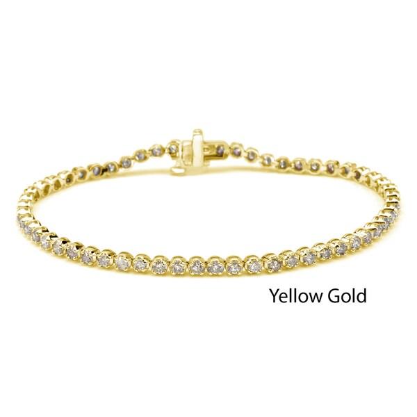 Auriya 14k Gold 2 1/2ct TDW Diamond Tennis Bracelet (J-K, I2)