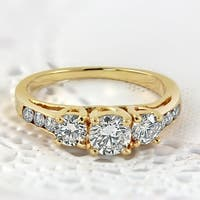 14k Gold Round 1ct TDW 3-Stone Diamond Engagement Ring by Auriya