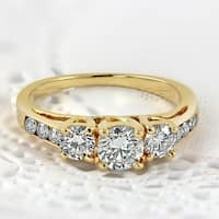 Auriya 14k Gold 1ct TDW Round Three Stone Diamond Engagement Ring