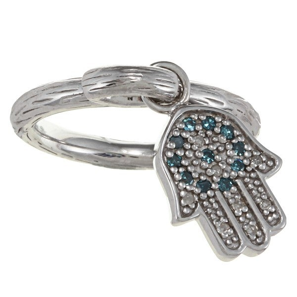 Sterling Silver 1/6ct TDW Diamond and Enamel Hamsa Ring (J-K, I2-I3)