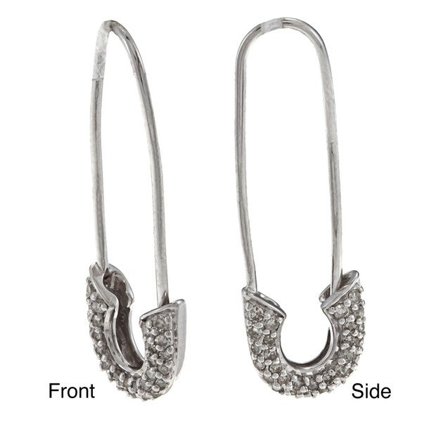 Victoria Kay Sterling Silver 1/3ct TDW Diamond Safety Pin Earrings (J-K, I2-I3)