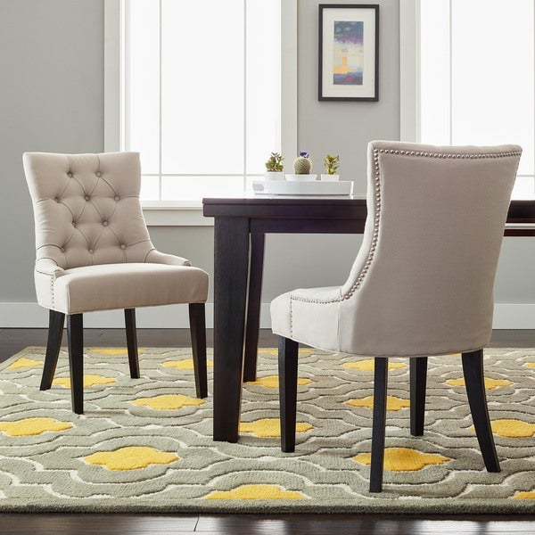 Safavieh Abby Taupe Linen Side Chairs (Set of 2)