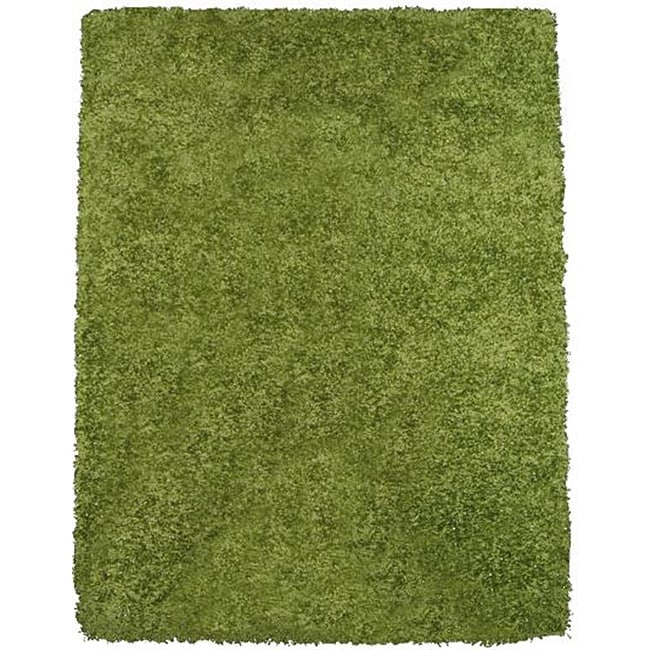 Rainbow Contemporary Green Shag Rug (4'9 x 6'6) - Thumbnail 0