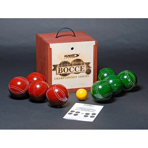 St.Pierre Mahogany Stained Wood Box Tournament Bocce Ball Set