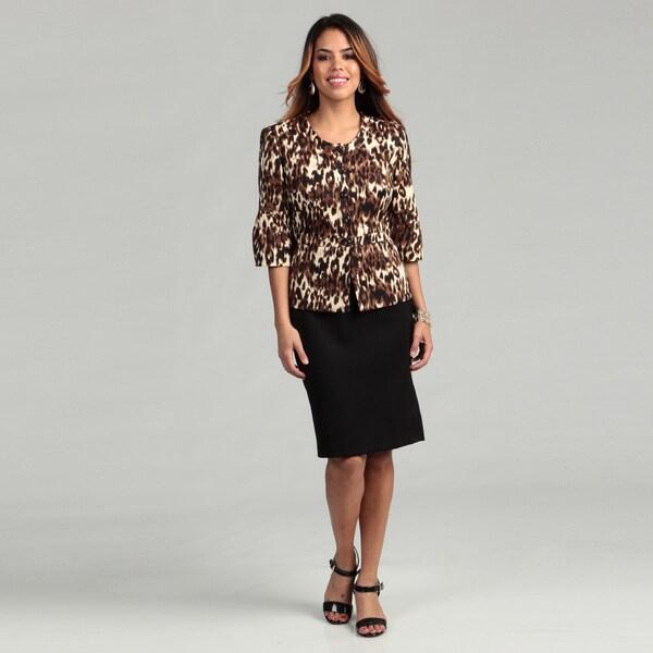 Kasper Women's Animal Print 5-button Skirt Suit