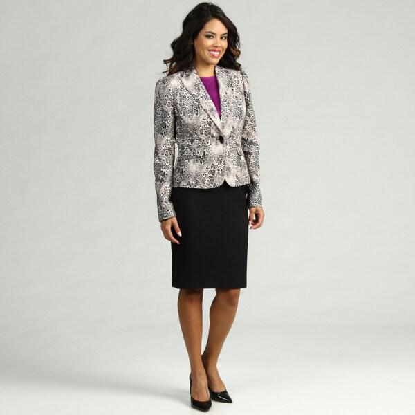 Nine West Women's Cheetah/ Black Skirt Suit