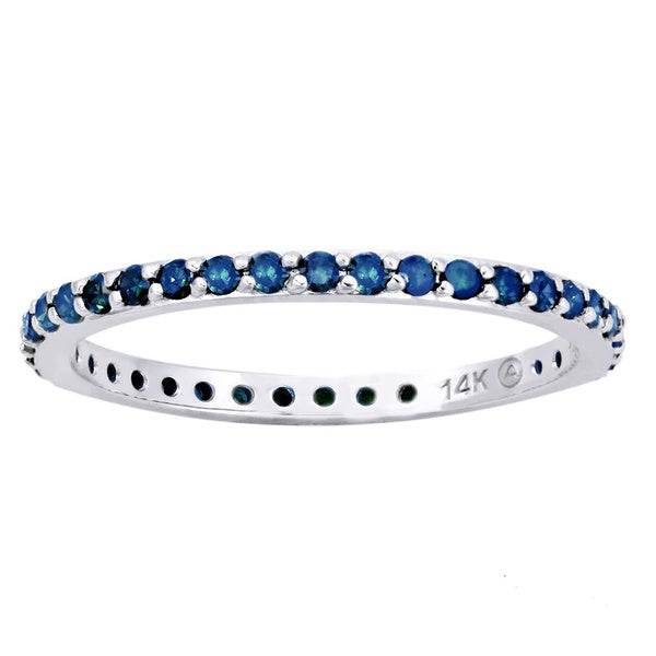 Beverly Hills Charm 14k White Gold 1/2ct TDW Blue Diamonds Eternity Stackable Band Ring (Blue, I1-I2)