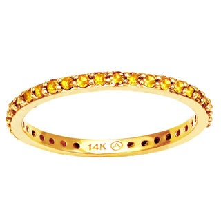 Beverly Hills Charm 14k Yellow Gold 1/2ct TDW Yellow Diamonds Eternity Stackable Band Ring (Blue, I1-I2)