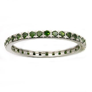 Beverly Hills Charm 14k White Gold 1/2ct TDW Green Diamonds Eternity Stackable Band Ring (Blue)