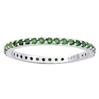 14k White Gold 1/2ct TDW Green Diamonds Eternity Stackable Band Ring (Blue)