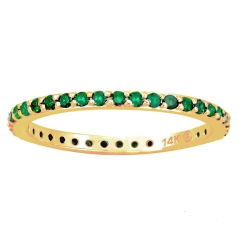 14k Yellow Gold 1/2ct TDW Green Diamonds Eternity Stackable Band Ring (Blue)